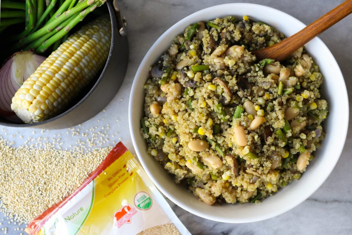 One-Pot Asparagus and Mushroom Quinoa - From My Bowl
