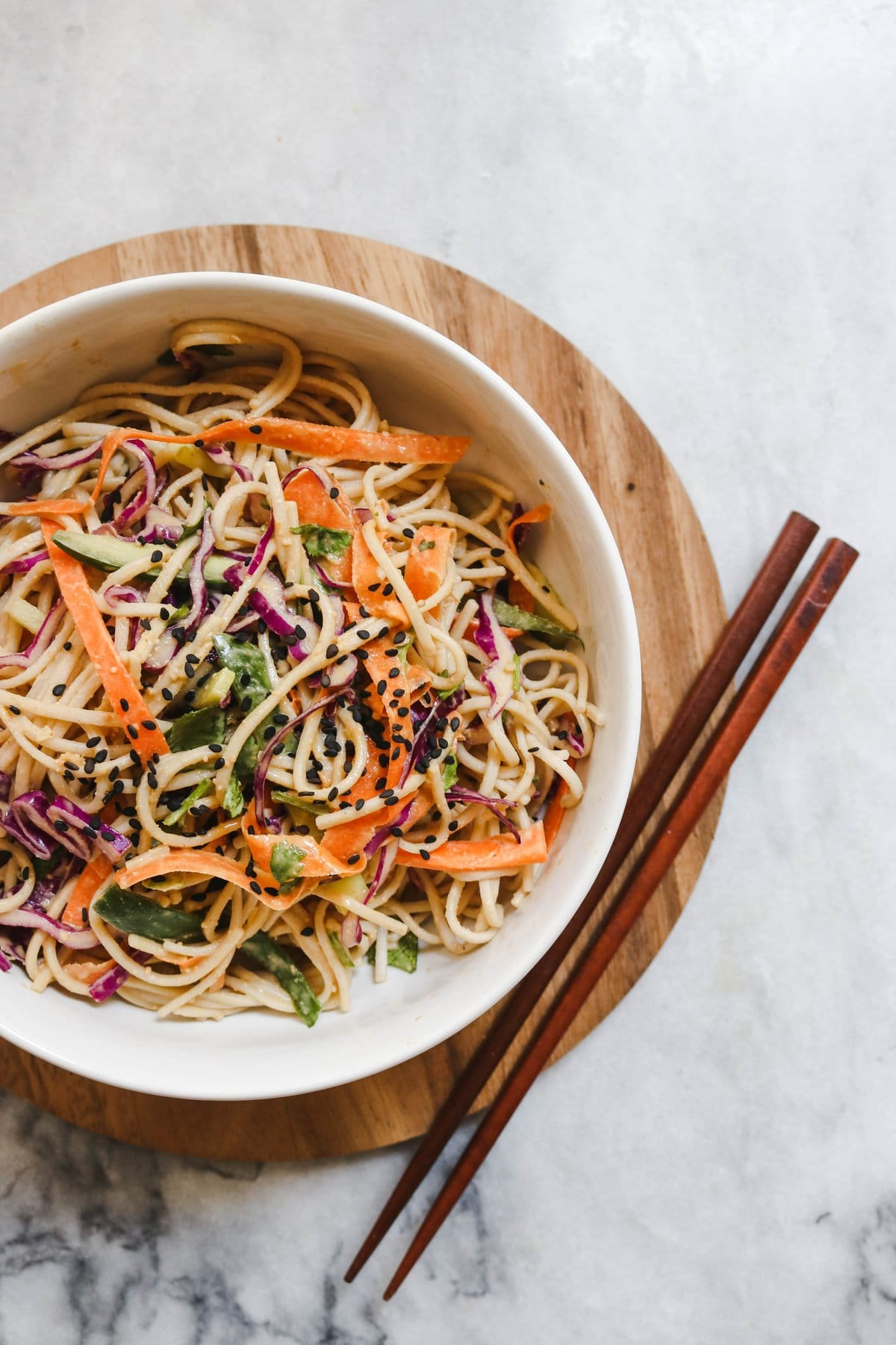 Cold Soba Noodle Salad With Peanut Sauce Vegan From My Bowl