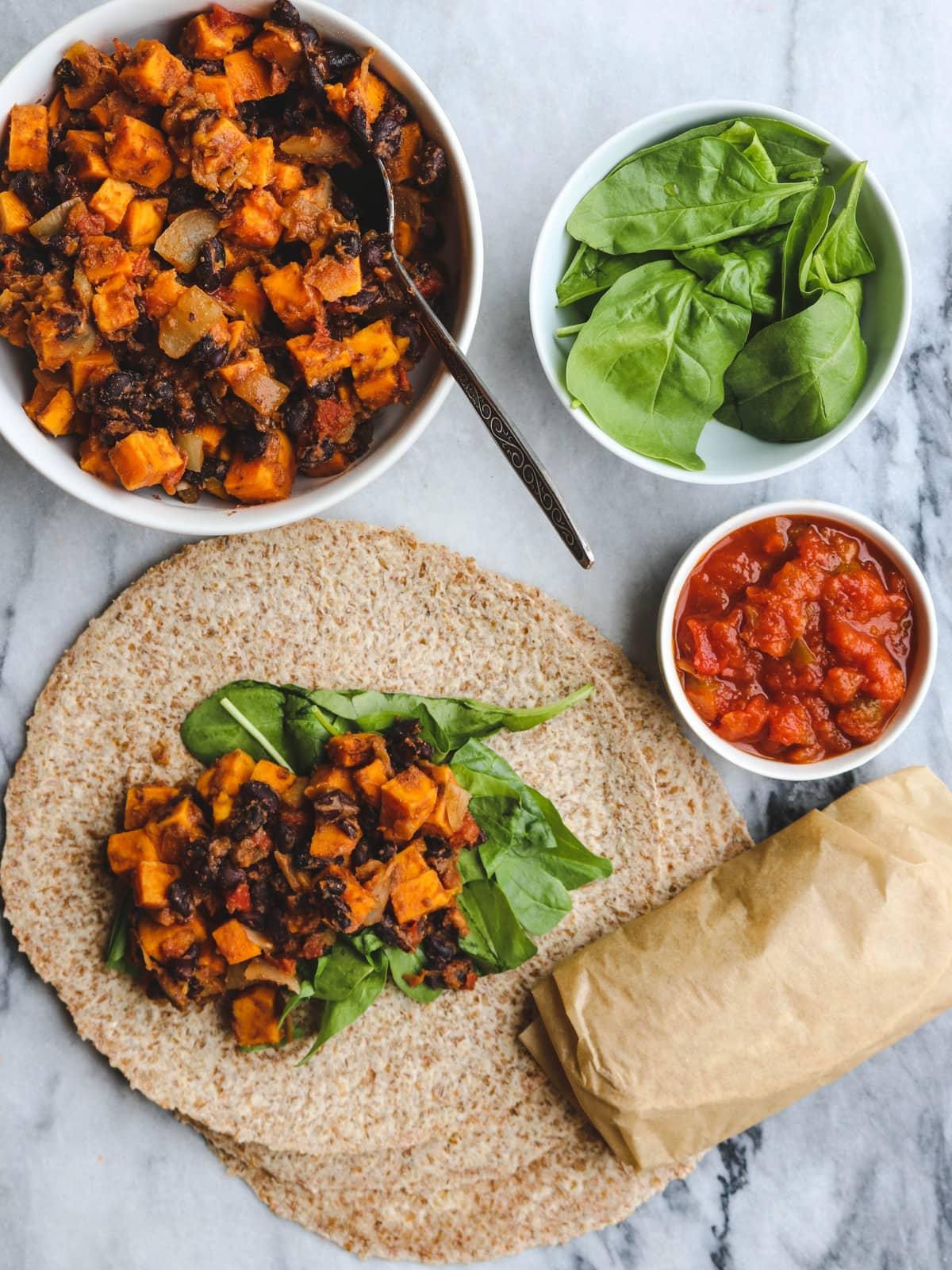 Sweet Potato And Black Bean Vegan Breakfast Burritos From My Bowl