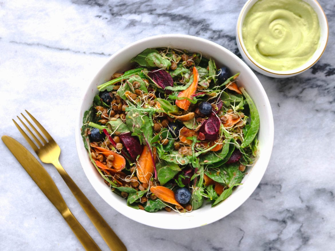 Tangy Beet Salad Avocado Dijon Dressing Vegan