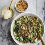 Vegan Kale Waldorf Salad Lentils Cashew Dressing
