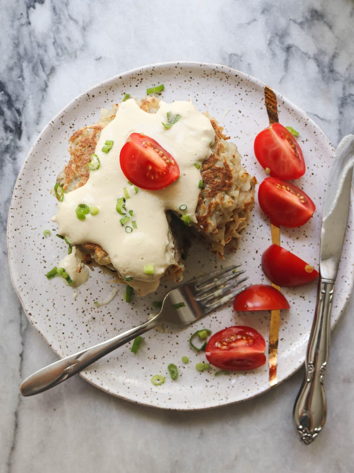 Vegan Potato Pancakes Gluten Free From My Bowl Cashew Sour Cream