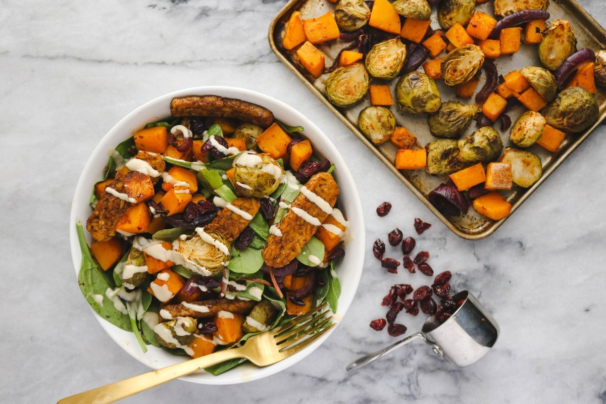 Roasted Vegetable Salad With Smoky Tempeh Vegan From