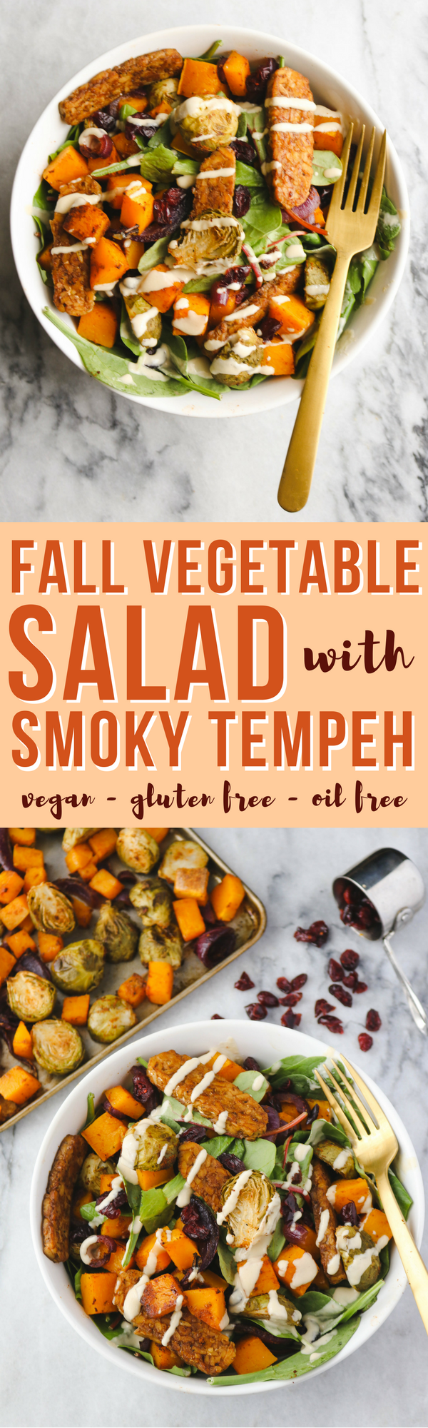 Fall Vegetable Salad with Smoky Tempeh - Easy Vegan & Gluten Free Recipe