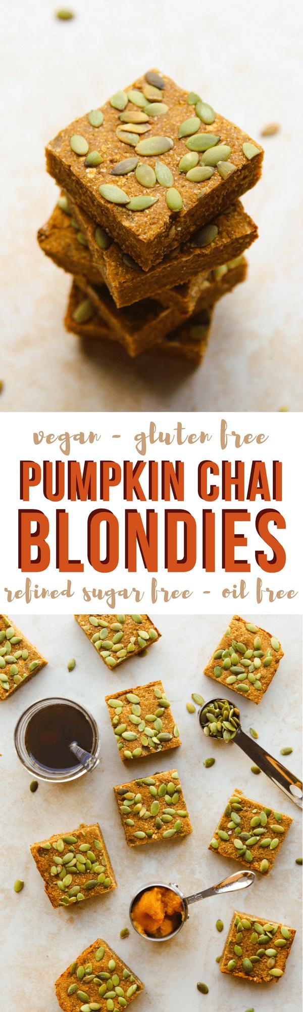 Pumpkin Chai Blondies Gluten Free Vegan