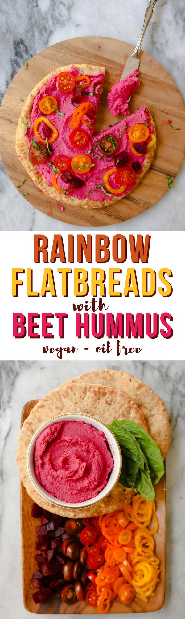 Rainbow Flatbreads with Beet Hummus - Easy & Healthy Vegan Recipe