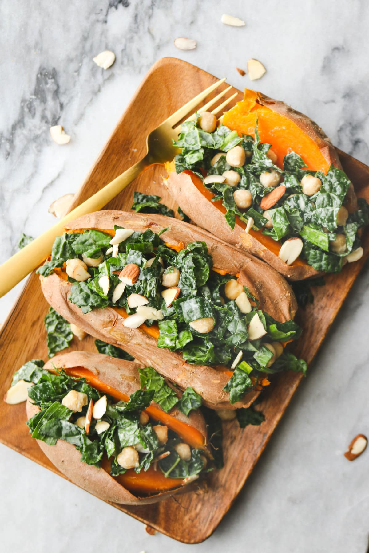 Sweet Potato Kale Boat Tahini Dressing
