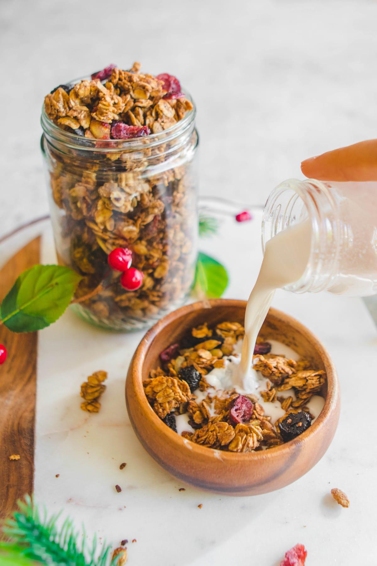 Crunchy Holiday Spiced Granola - Easy Vegan Breakfast Recipe