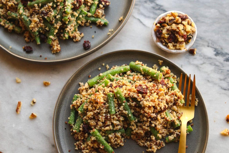 Green Bean, Cranberry, Quinoa Salad - Easy and Healthy Vegan Holiday Recipe