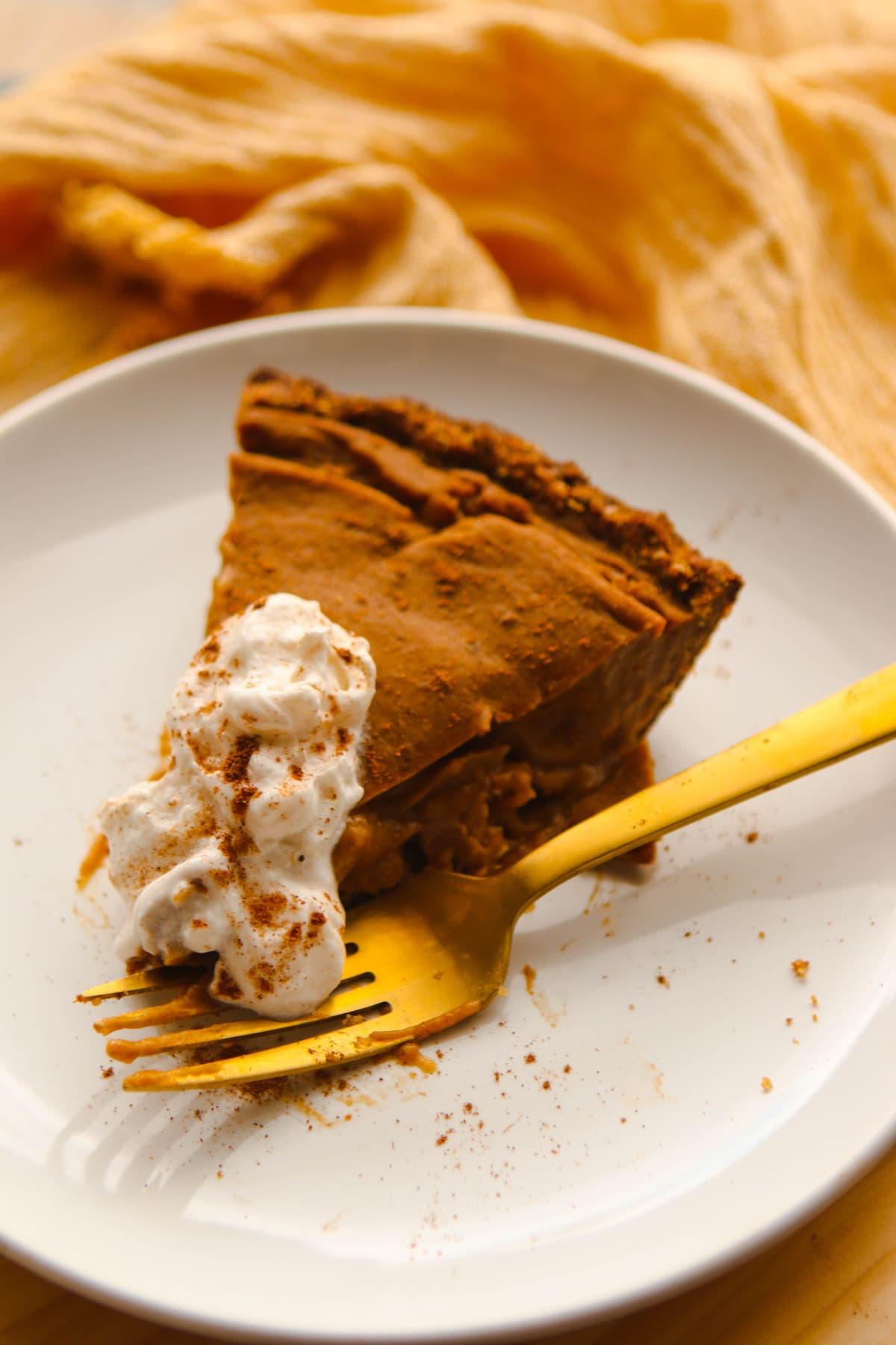 Pecan & Pumpkin Custard Pie - Healthy Holiday Vegan Dessert Recipe