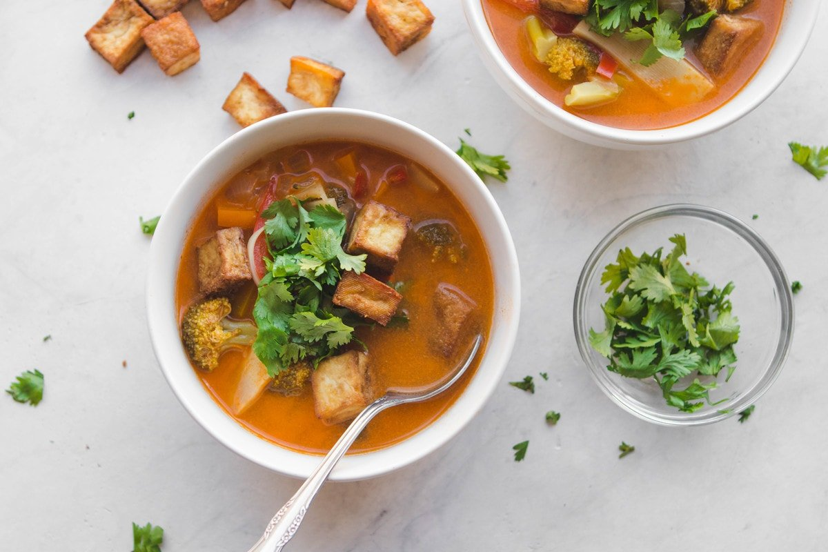 Thai Red Curry Vegetable Soup with Crispy Tofu