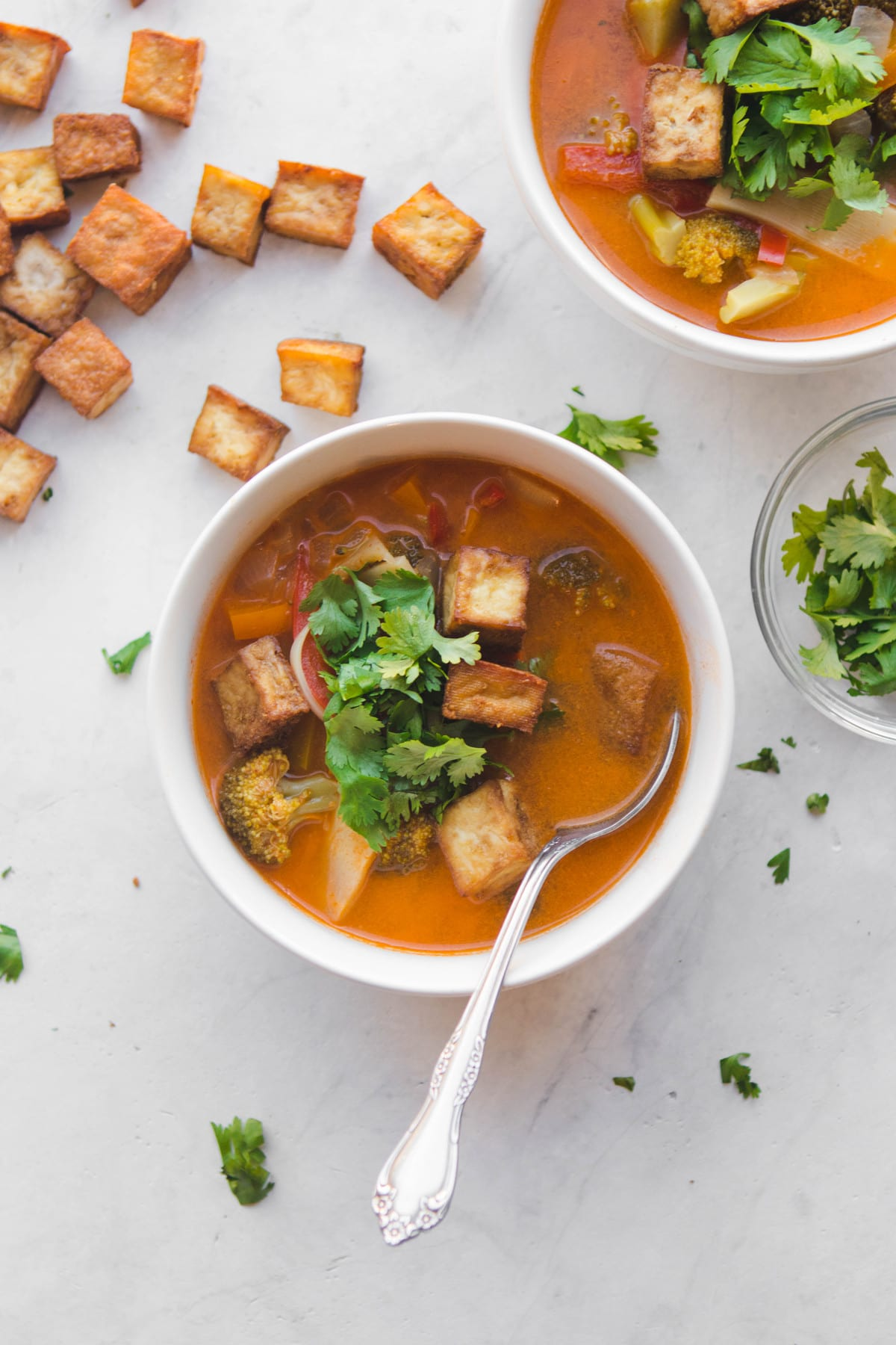 Thai red curry vegetable soup with crispy tofu from my bowl for Best thai red curry