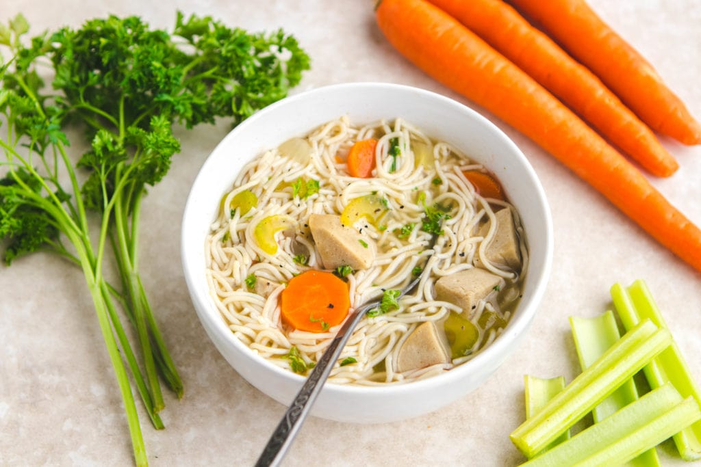 Loaded Vegan Chicken Noodle Soup From My Bowl