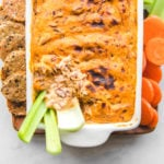 buffalo chicken dip with celery and carrots