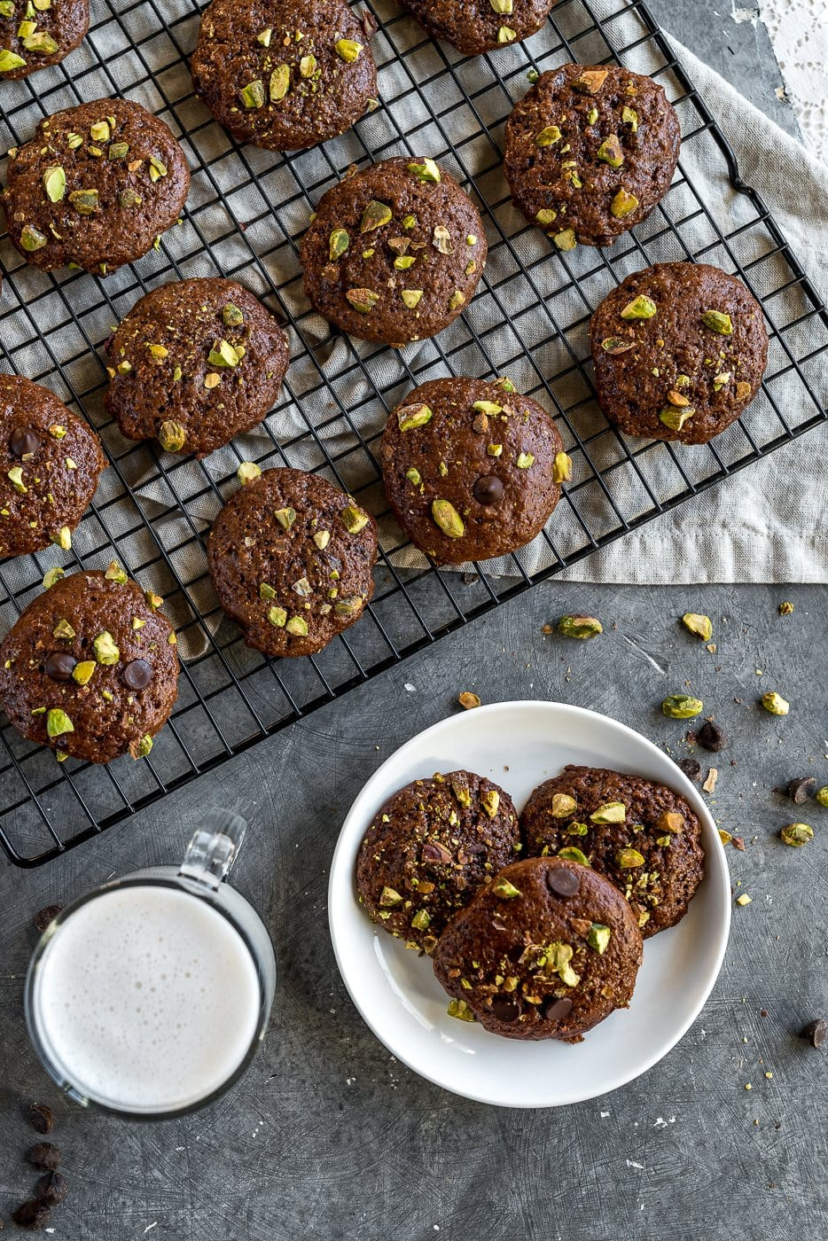 Double Chocolate Brownie Cookies with Pisachios on cooling rack