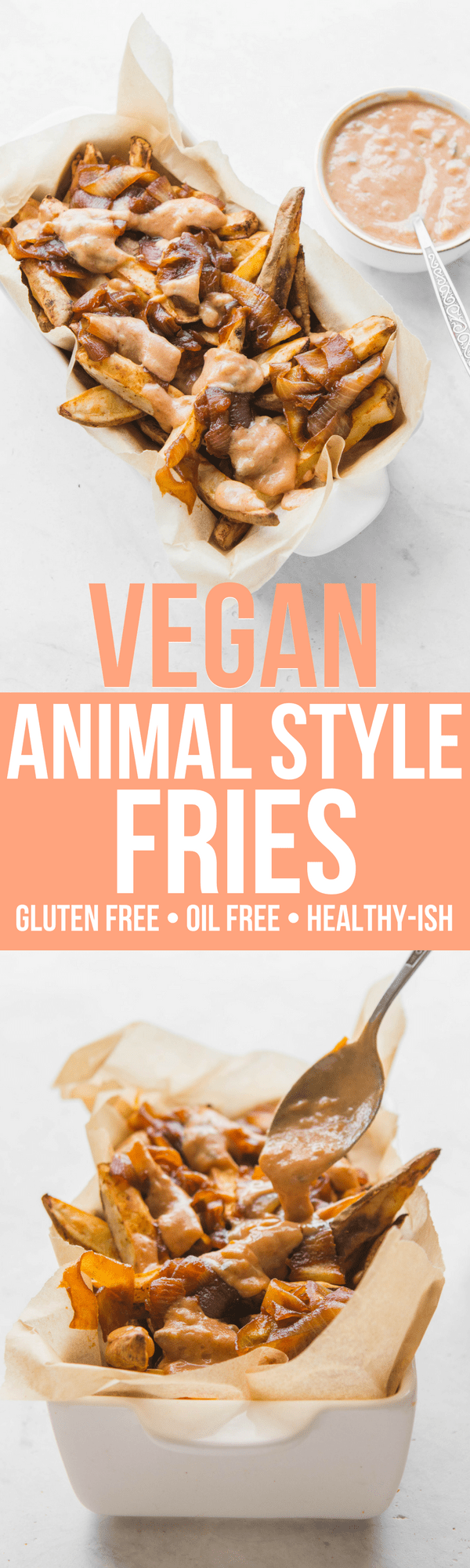 Vegan Animal Style Fries with Special Sauce in white container