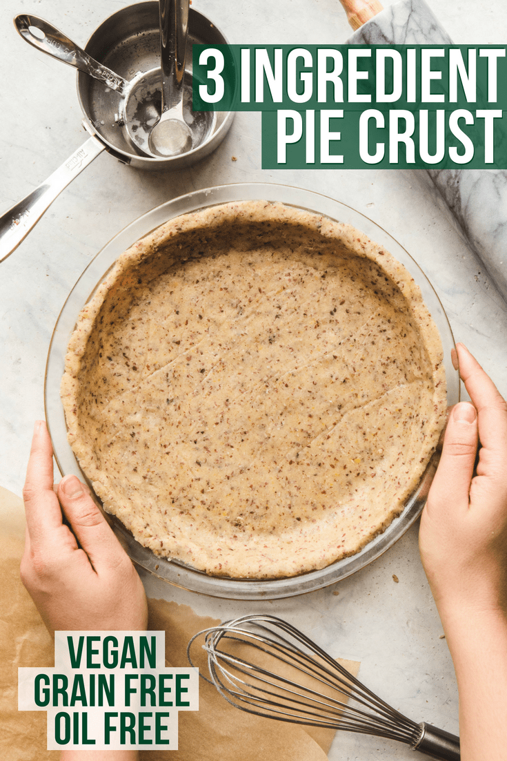 3 Ingredient Pie Crust that is healthy, vegan, grain free, and oil free! Perfect for quiches, pies, and more. #vegan #plantbased #piecrust #healthypiecrust #oilfree #dessert #quiche #glutenfree via frommybowl.com