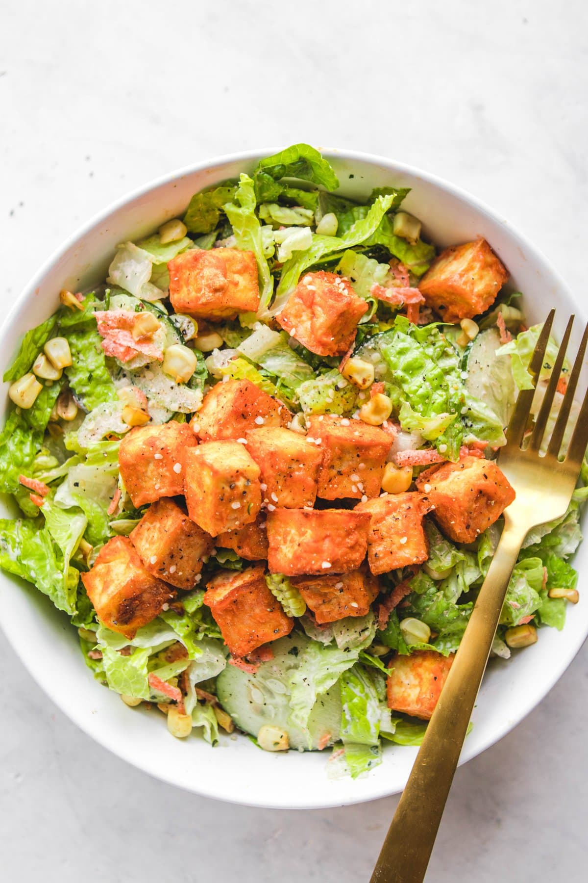 Buffalo Tofu Salad With Creamy Hemp Ranch From My Bowl