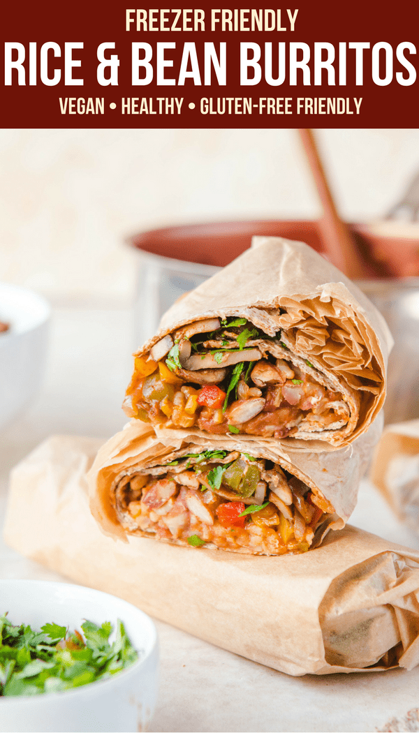 These Rice & Bean burritos taste AMAZING, but are so easy to make! They're also freezer-friendly, which make them perfect for an easy Dinner, Meal Prep or a Grab-and-go Meal. #vegan #plantbased #burrito #mealprep #easydinner #riceandbeans #beanburrito #texmex via frommybowl.com