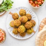 falafel with pita on white plate