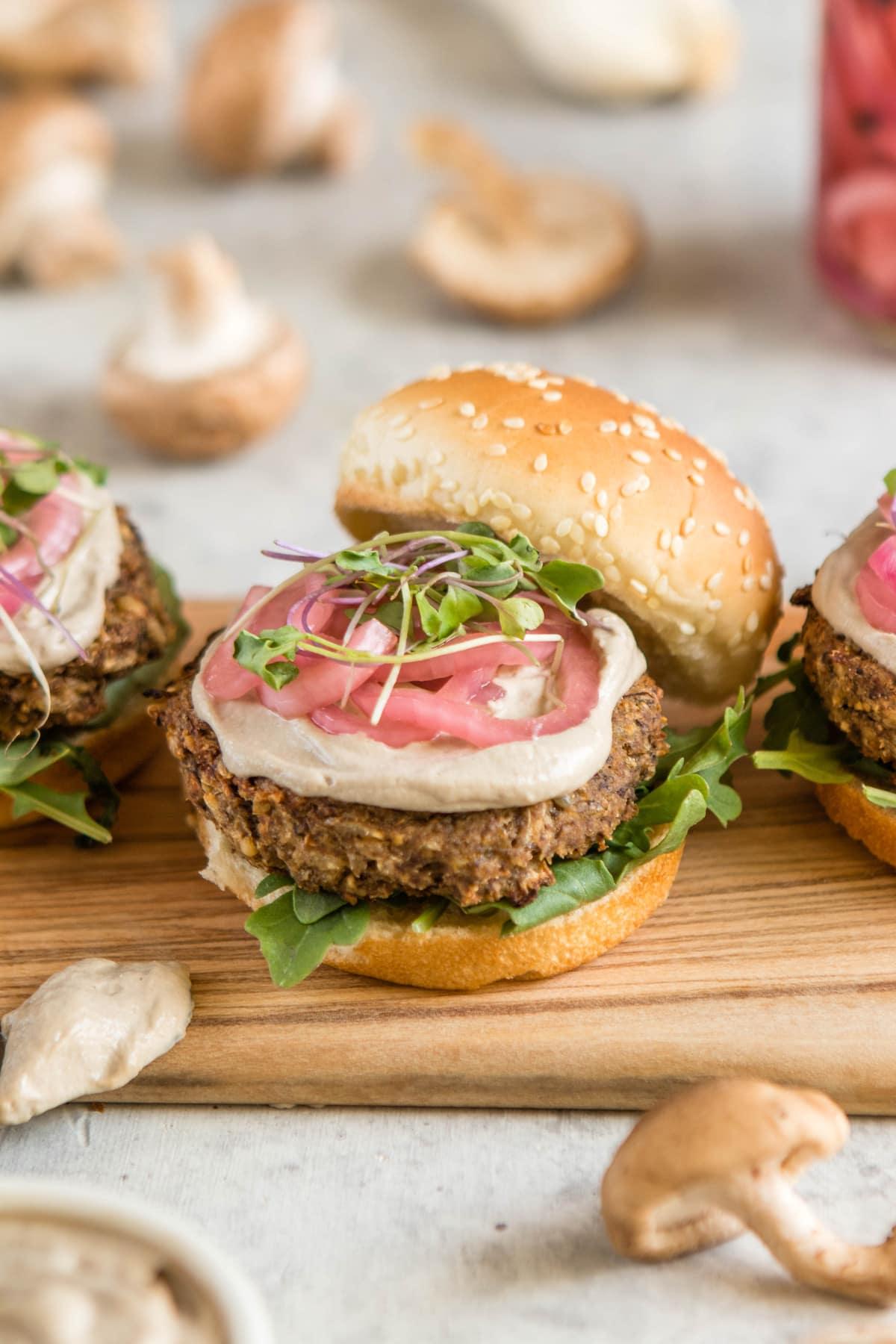 Mushroom Veggie Burgers Vegan Gluten Free From My Bowl