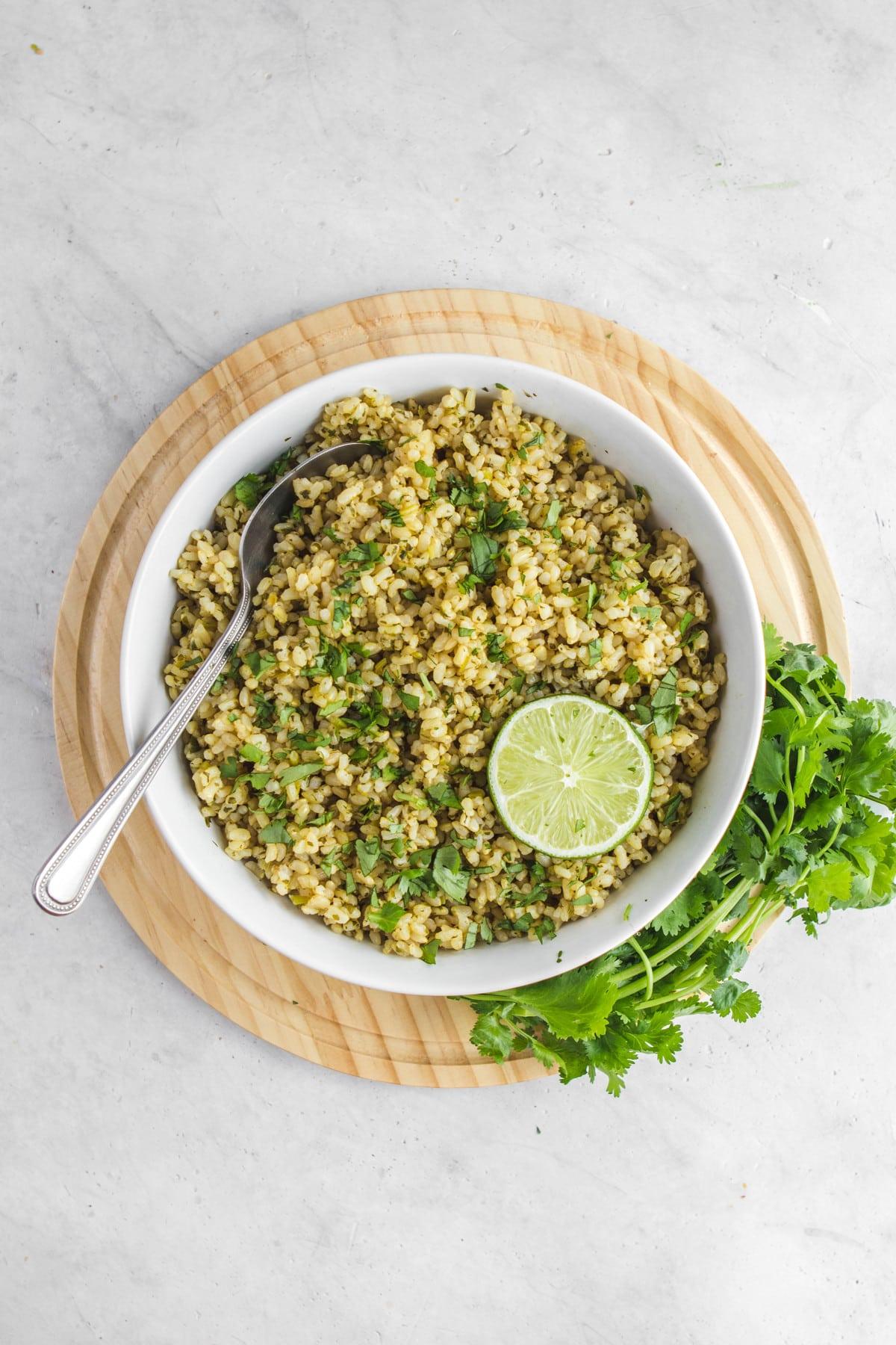 white bowl of cilantro lime rice