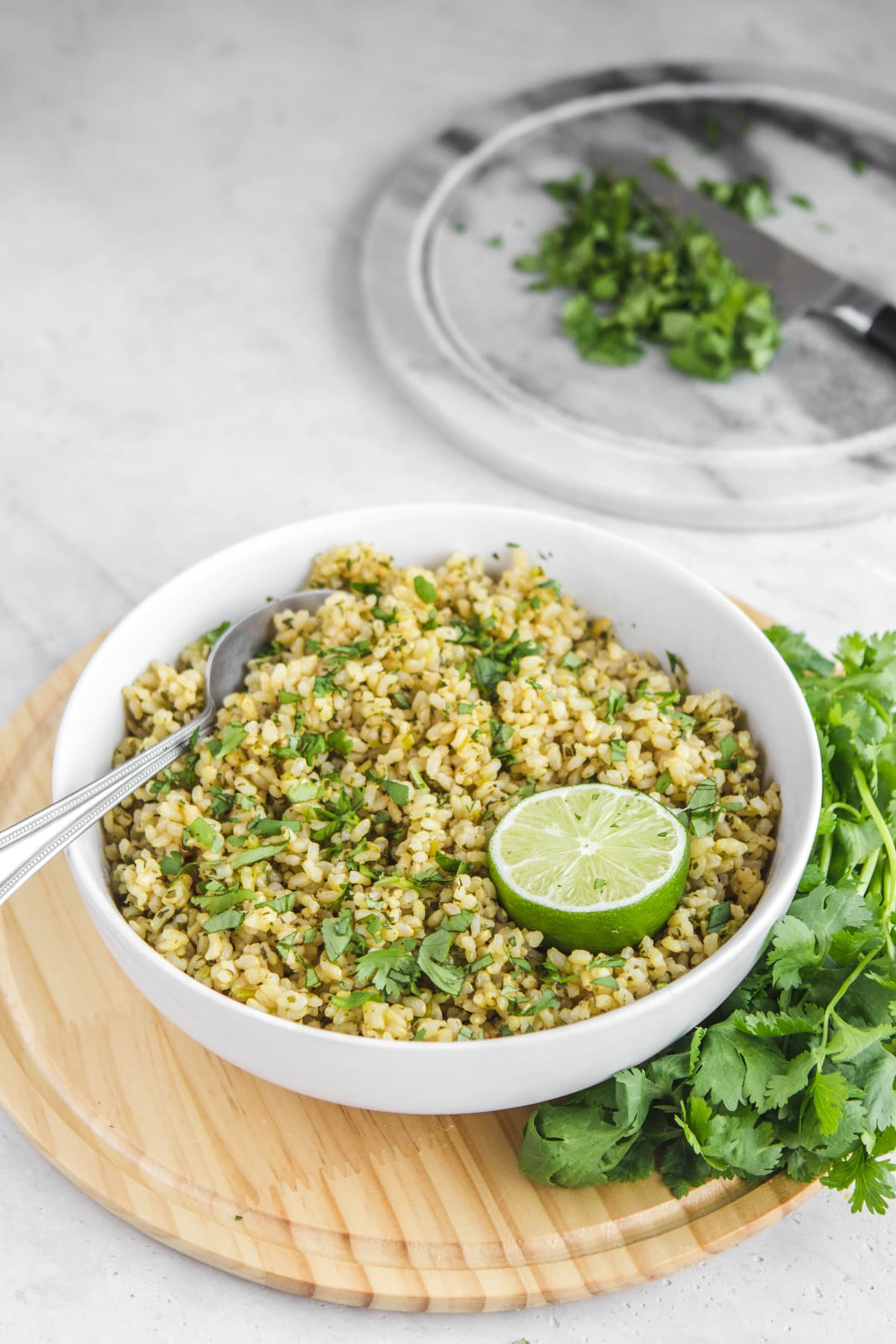 white serving bowl filled with cilantro lime rice