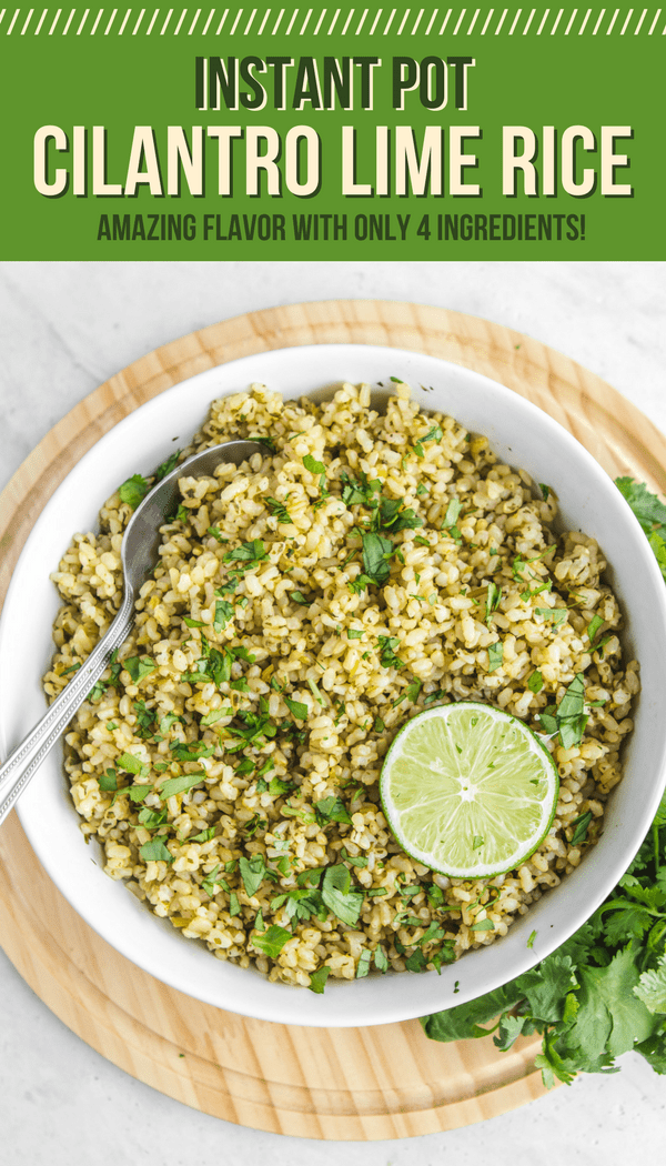 This 4 Ingredient Instant Pot Cilantro Lime Rice is Easy, Healthy, and Tasty! Serve it alongside Beans, Tacos, or in Burritos for quick weeknight dinner. #instantpot #vegan #plantbased #cilantrolimerice #mealprep #sidedish #texmex #oilfree via frommybowl.com