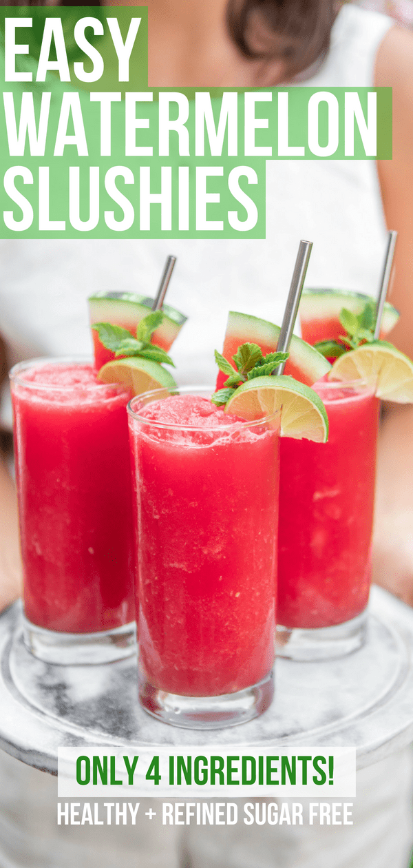 This refreshing Watermelon Slushie Recipe is made with only 4 healthy ingredients! It's easy to make and perfect for a hot summer day. Vegan, Gluten-Free, and Refined Sugar Free #watermelon #healthyslushie #smoothie #summerdrinks #refinedsugarfree #vegan #plantbased via frommybowl.com
