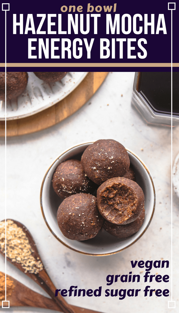 These Hazelnut Mocha Energy Bites are an indulgent yet healthy treat! Loaded with Coffee, Hazelnut Meal, and Cacao, plus they're Grain-Free & Vegan too. Perfect for Meal Prep, an afternoon treat, or healthy dessert! #vegan #plantbased #energybites #nobake #hazelnut #mocha #coffee #grainfree #glutenfree via frommybowl.com