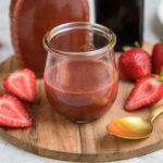 roasted strawberry balsamic vinaigrette in glass jar