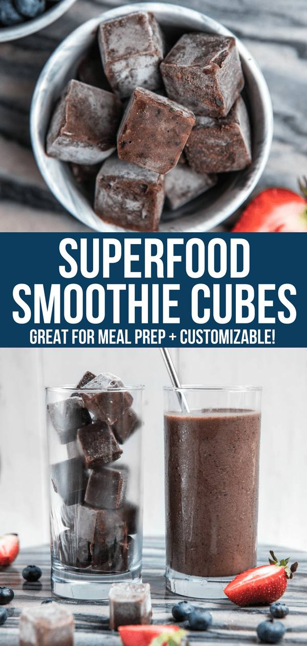 Make these Superfood Smoothie Cubes ahead of time for a quick and healthy breakfast. Simply add them to a blender with liquid, blend, and enjoy! Perfect for Meal Prep and an on-the-go healthy breakfast #smoothie #mealprep #smoothiecubes #superfoodsmoothie #healthysmoothie #vegan #plantbased #glutenfree #easybreakfast via frommybowl.com