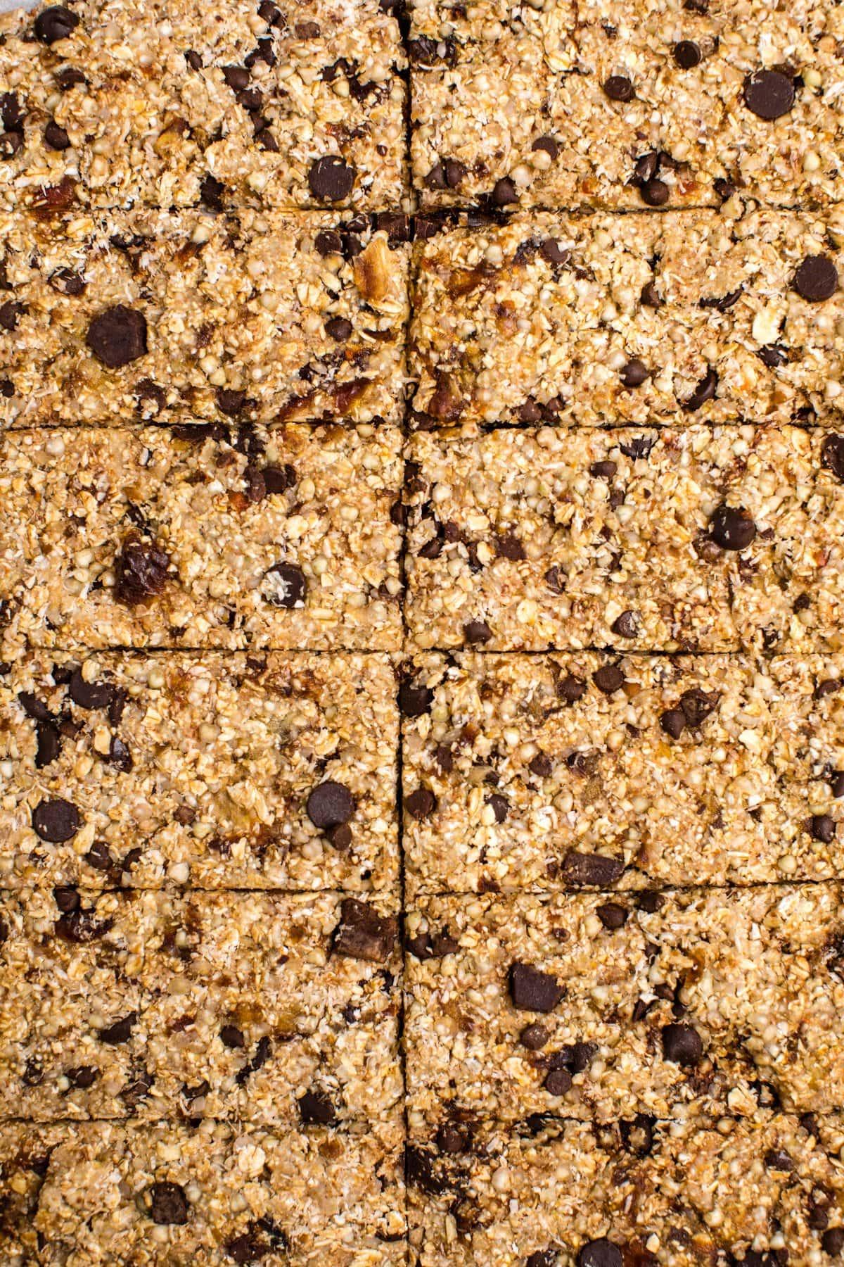 close up photo of vanilla chip buckwheat bars scored on baking sheet