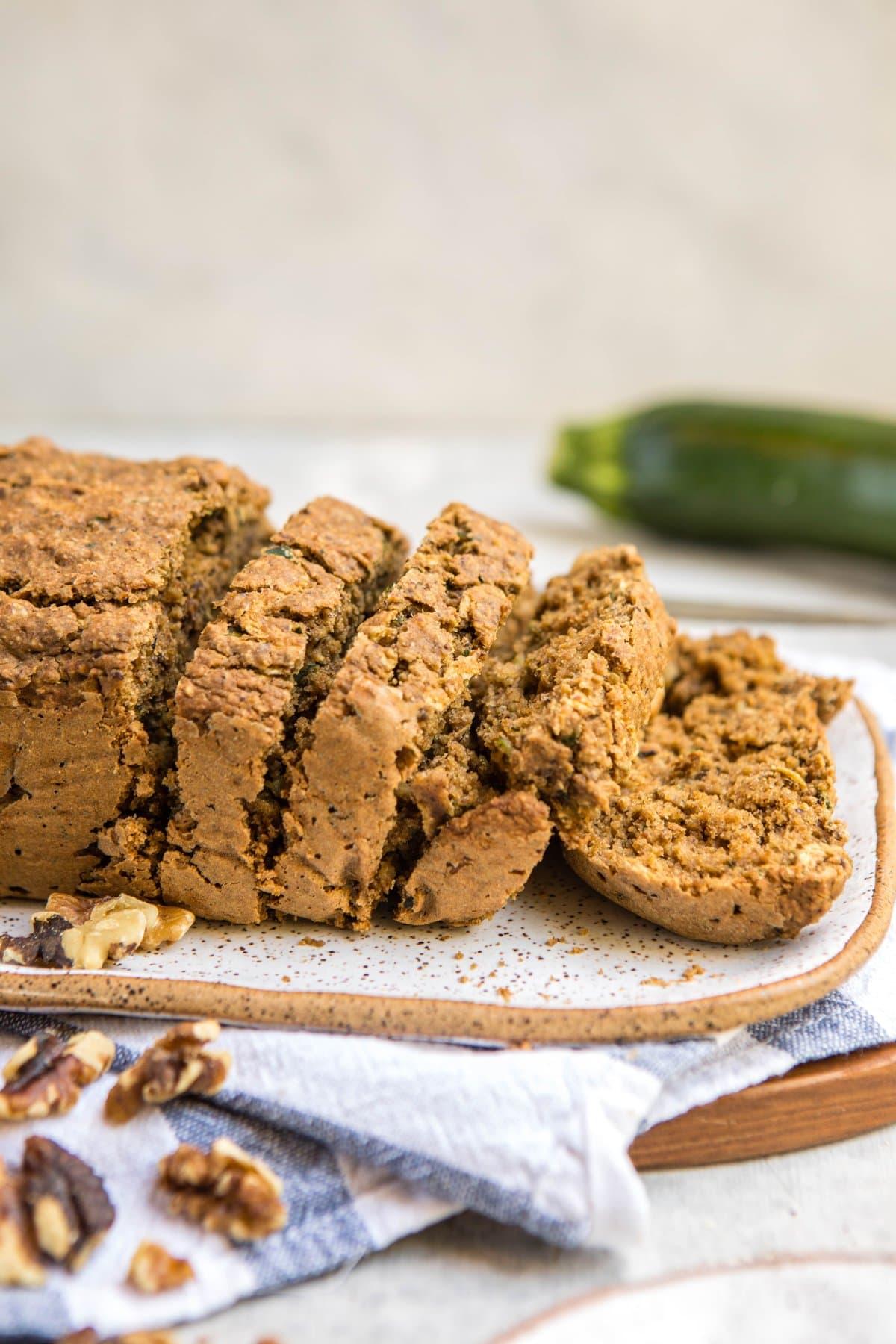 side shot of vegan zucchini bread