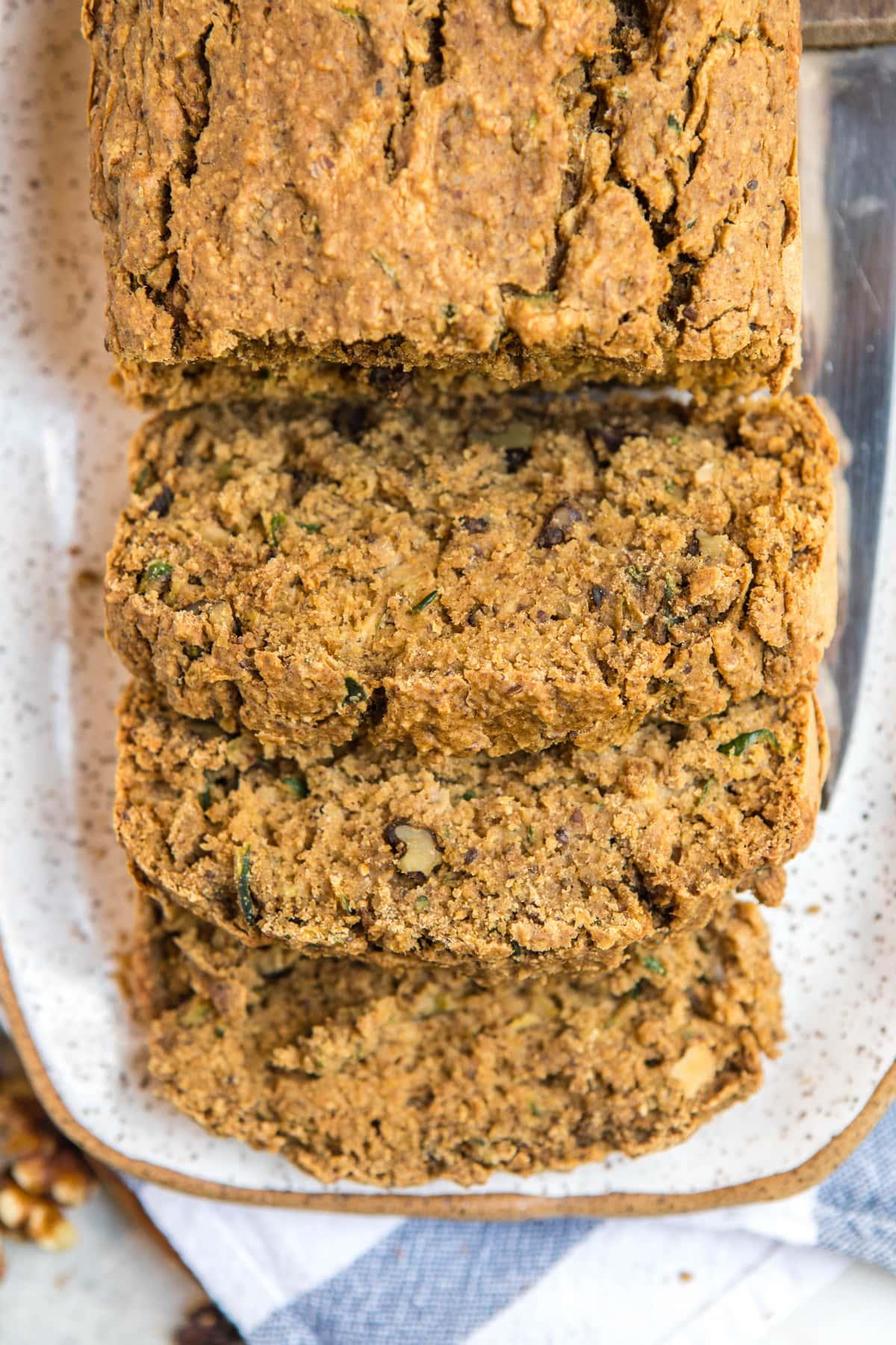 close up overhead shot of vegan zucchini bread