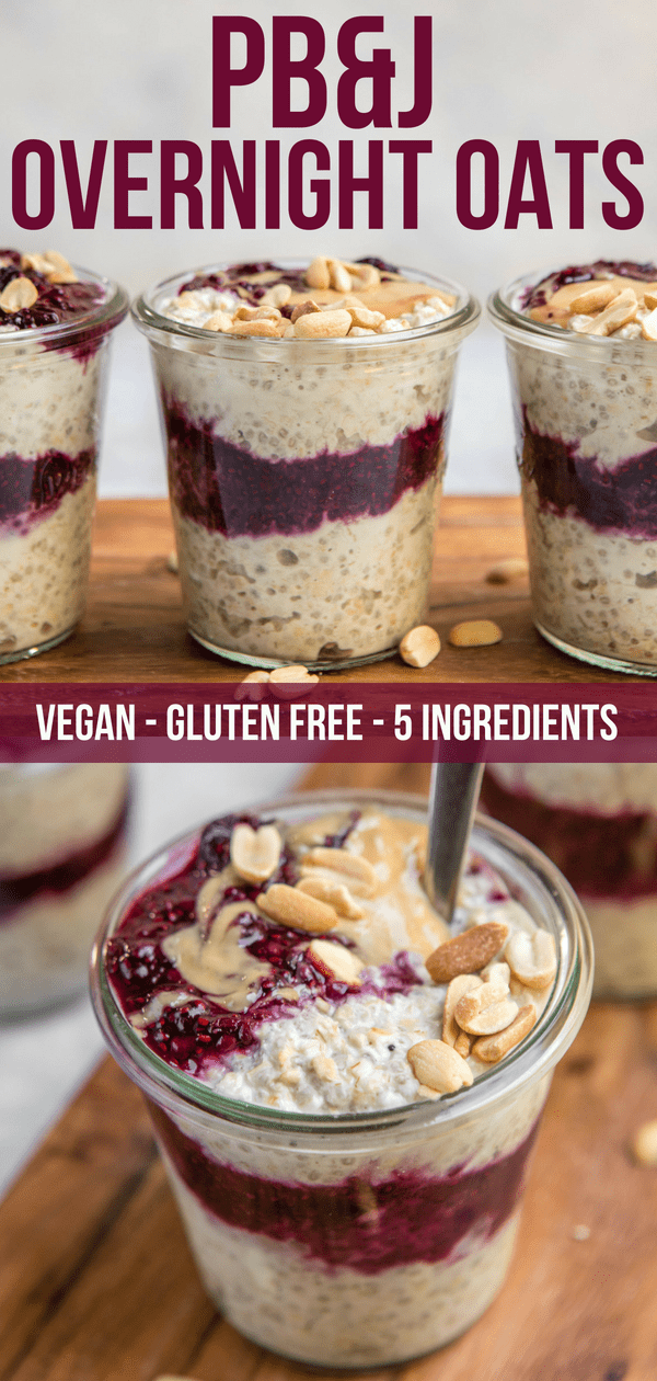 These PB&J Overnight Oats are full of creamy layers of Peanut Butter and Chia Jam. A hearty, filling, and a great way to enjoy the classic sandwich...for breakfast! Gluten Free, Vegan, and great for Meal Prep #overnightoats #peanutbutter #pbj #vegan #glutenfree #plantbased #easybreakfast #healthybreakfast #oatmeal via frommybowl.com