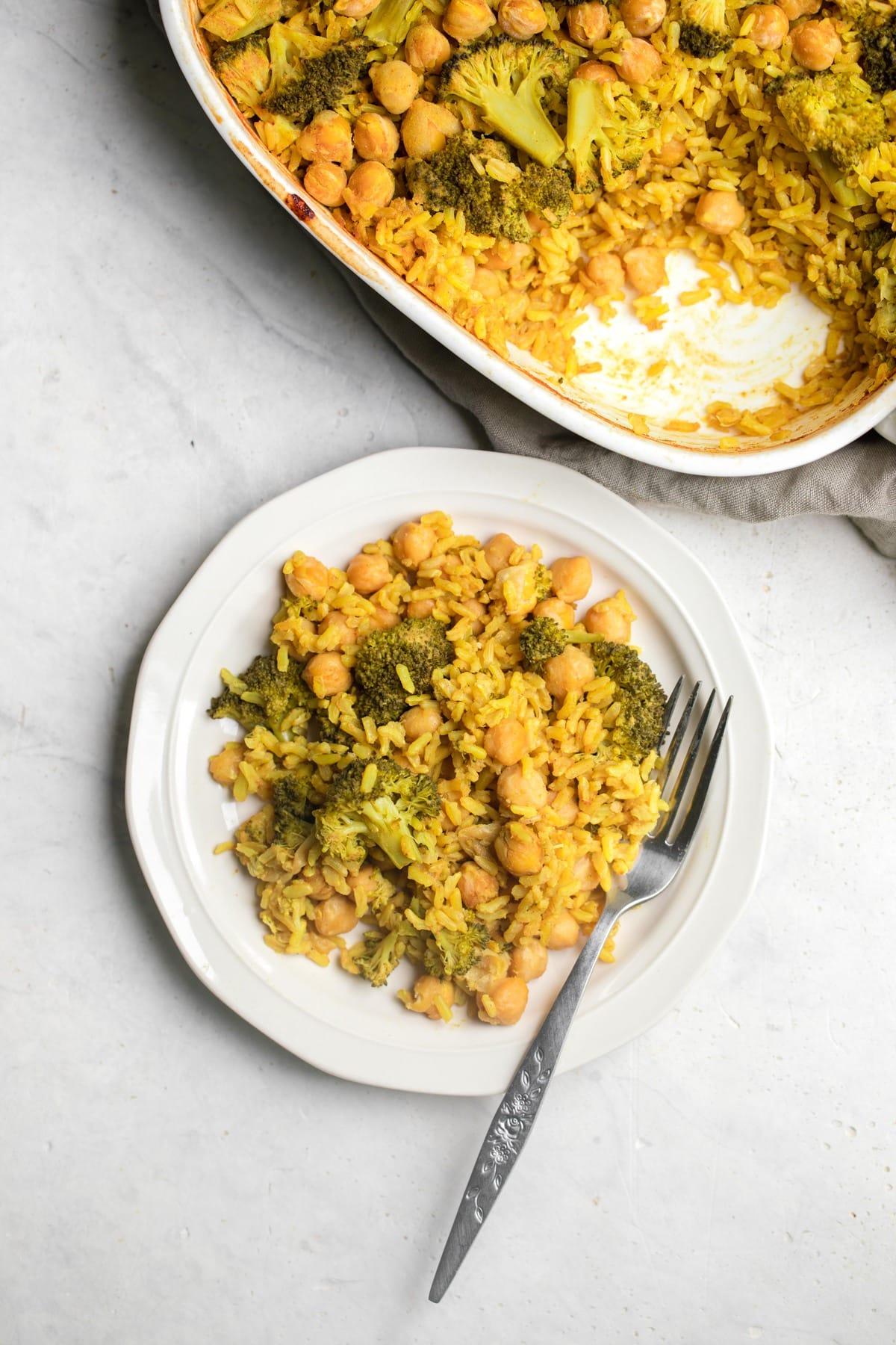 broccoli rice casserole served on white plate