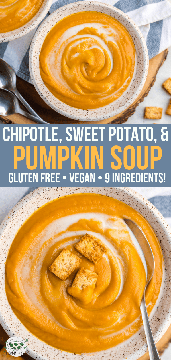 Made with only 9 healthy ingredients, this Chipotle, Sweet Potato & Pumpkin Soup is perfect for a chilly day! Creamy, cozy, and ready in under 30 minutes. #pumpkinsoup #vegan #plantbased #fallsoup #dairyfree #sweetpotato via frommybowl.com