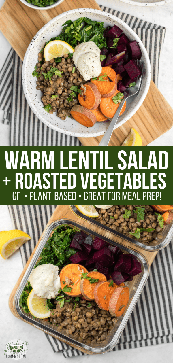 This Warm Lentil Salad is hearty and delicious! Rosemary Garlic Lentils combine with steamed Kale and Roasted Vegetables for a healthy and balanced meal. #vegan #plantbased #mealprep #lentilsalad #veganbowls via frommybowl.com