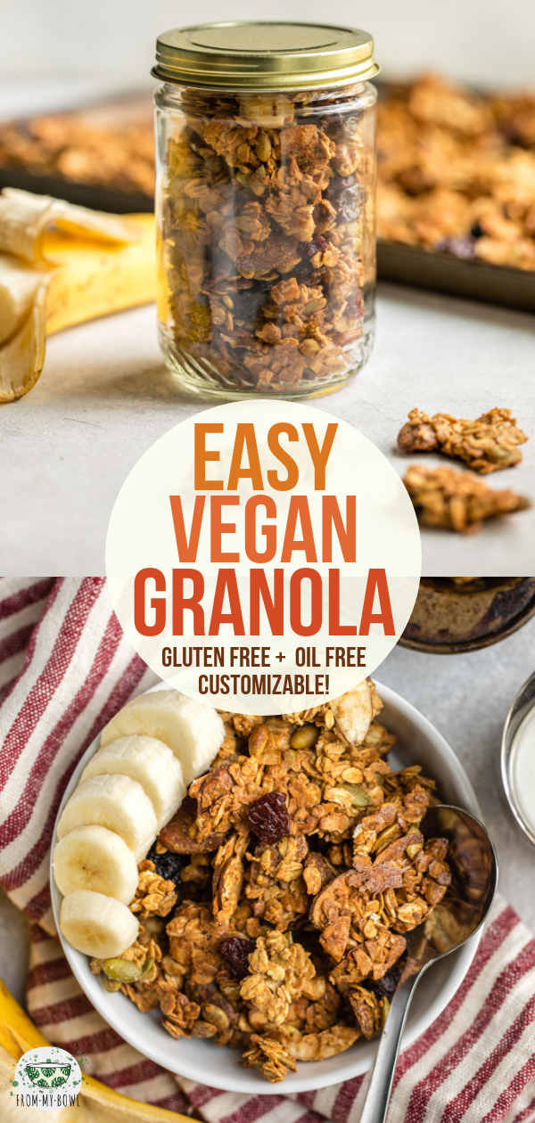 This Vegan Granola recipe is easy, crunchy, healthy, and highly customizable! Enjoy these golden, nutty clusters for an easy breakfast or snack. #vegan #plantbased #glutenfree #oilfree #granola   frommybowl.com