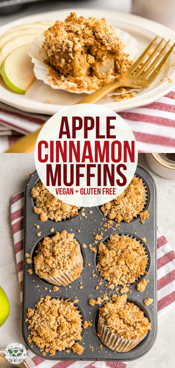 Loaded with Apples and a sweet Crumble topping, you won't believe these fluffy Apple Cinnamon Muffins are Vegan, Gluten-Free, and Refined Sugar-Free! #vegan #glutenfree #plantbased #applecinnamonmuffins #apple #muffins | frommybowl.com