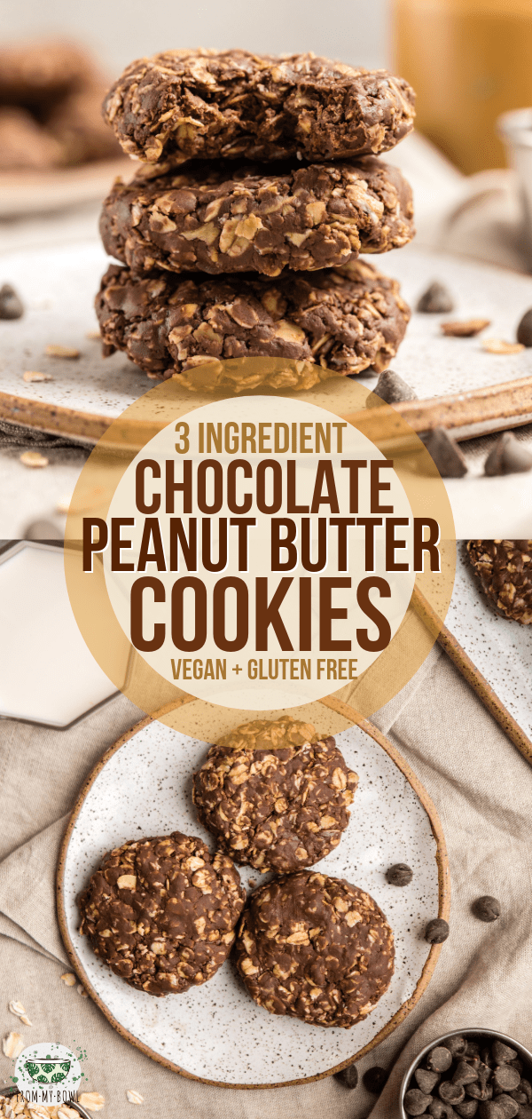 No Bake Peanut Butter Chocolate Cookies (3 Ingredients!) - From My Bowl