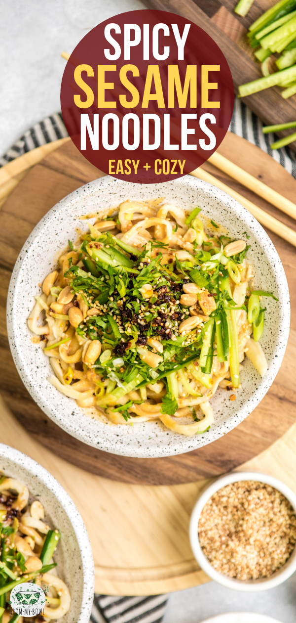 These Spicy Sesame Noodles are creamy, perfectly spiced, and easy to make! A cozy and satisfying vegan dinner that's even better than takeout. #vegan #plantbased #sesamenoodles #asiannoodles #noodles | frommybowl.com