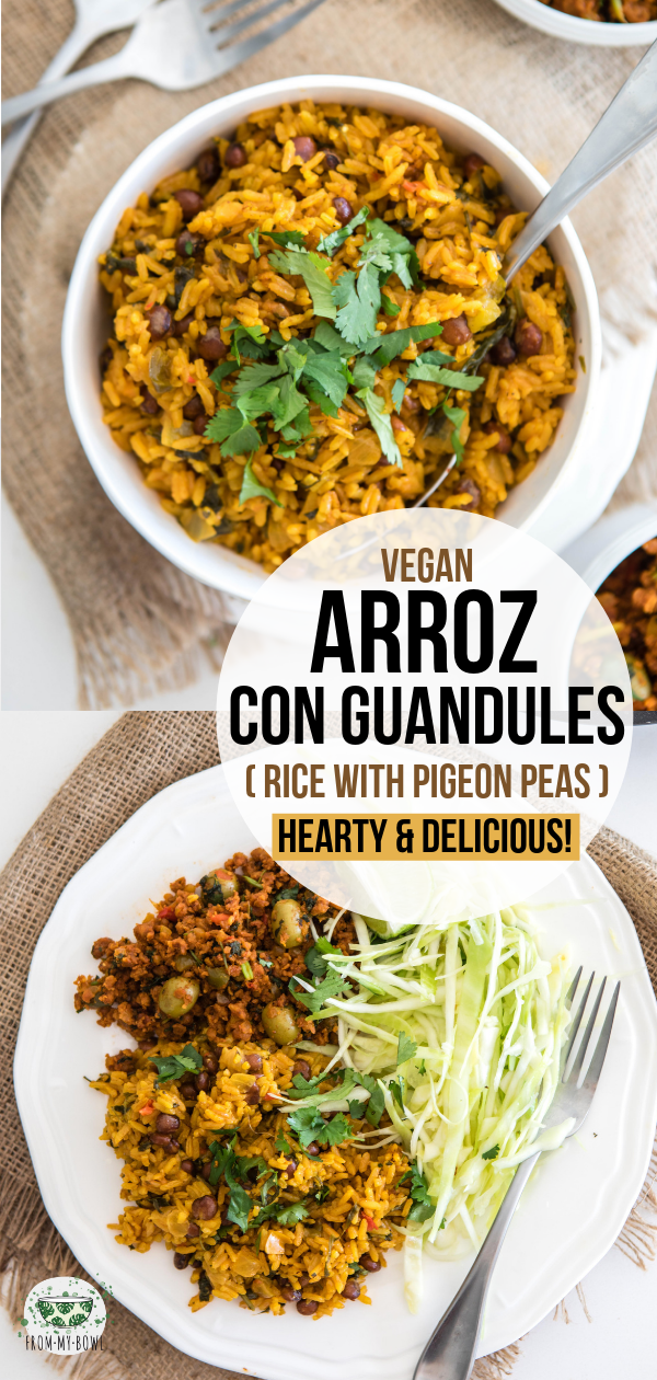 Creamy, hearty, and flavorful, this Vegan Arroz con Guandules is a classic Puerto Rican dish. Perfect as a side, but also delicious enough for a main! #vegan #glutenfree #plantbased #arrozconguandules #pigeonpeas | frommybowl.com