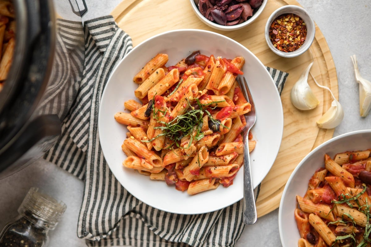 instant pot penne puttanesca  from my bowl