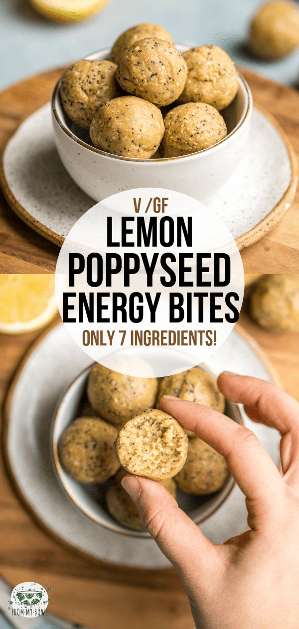 Zesty, Creamy, and full of Flavor, these Lemon Poppyseed Energy Bites are made with only 7 healthy ingredients! A quick & easy on-the-go snack. #vegan #glutenfree #lemon #poppyseed #energybites | frommybowl.com