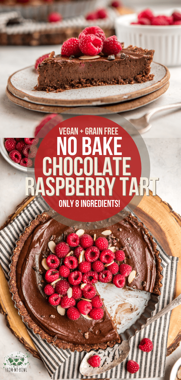 You'll hardly believe that this decadent No-Bake Chocolate Raspberry Tart is made with only 8 healthy ingredients! Vegan, Sugar-Free, & Grain-Free. #vegan #grainfree #chocolate #raspberry #tart #nobake | frommybowl.com