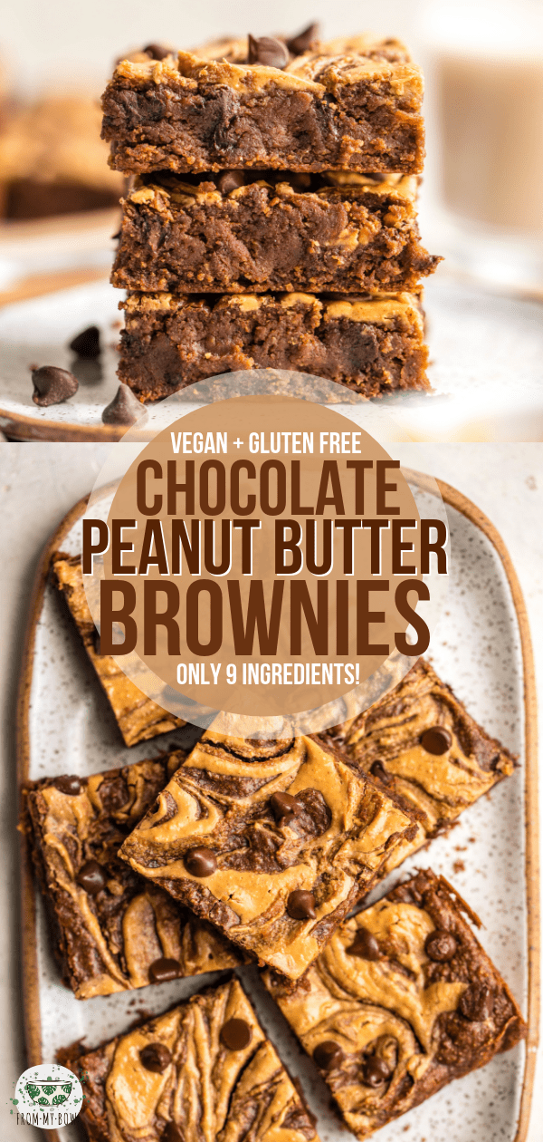 Not only are these Peanut Butter Brownies fudgy, decadent, and delicious, but they're also Vegan, Gluten-Free, and made from only 9 healthy ingredients! #vegan #glutenfree #plantbased #brownies #peanutbutter | Frommybowl.com