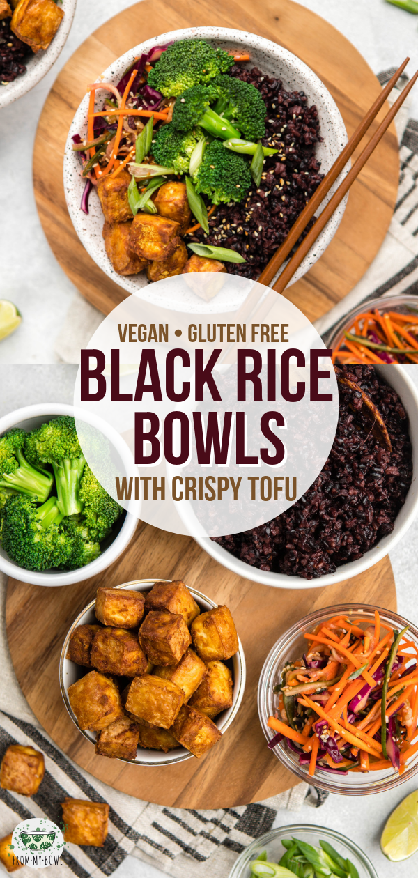Piled high with Teriyaki-flavored Black Rice, Crispy Tofu, and a crunchy Asian Slaw, these Black Rice Bowls are hearty, nourishing, and satisfying! #vegan #mealprep #blackrice #glutenfree #bowl | frommybowl.com