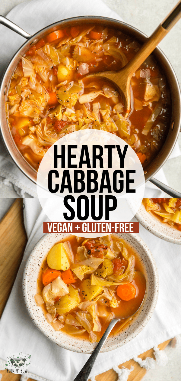 This hearty Cabbage Soup is loaded with Green Cabbage, Carrots, Yellow Potatoes, and a flavorful broth! A cozy plant-based soup for a chilly day. #vegan #plantbased #cabbage #soup #lowfat | frommybowl.com
